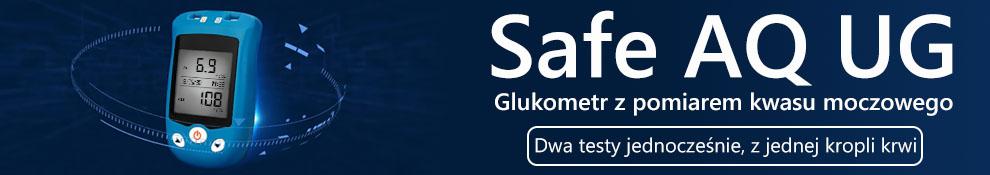 Safe AQ UG. Glukometr z pomiarem kwasu moczowego. Dwa testy jednocześnie, z jednej kropli krwi.